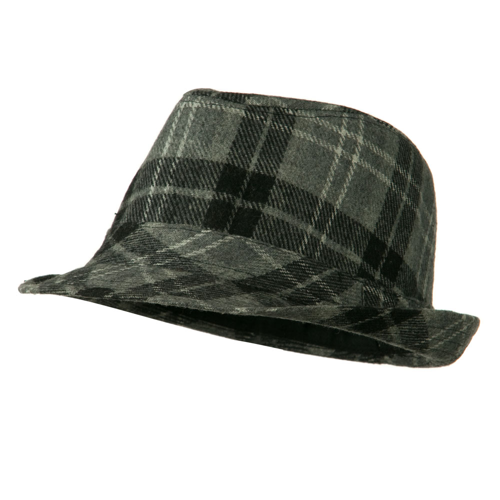 Boys Wool Blend Plaid Fedora with Band - Black Grey - Hats and Caps Online Shop - Hip Head Gear