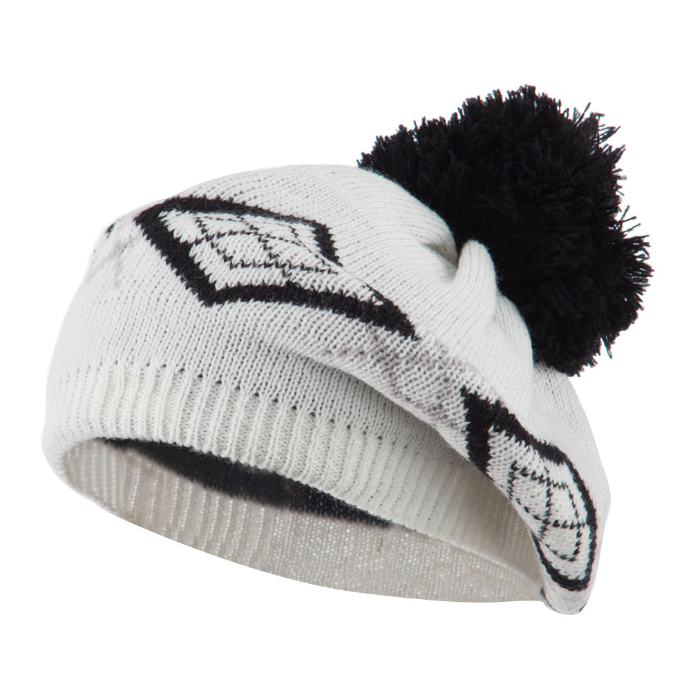 Beret Pattern with Pom Pom - White Black - Hats and Caps Online Shop - Hip Head Gear