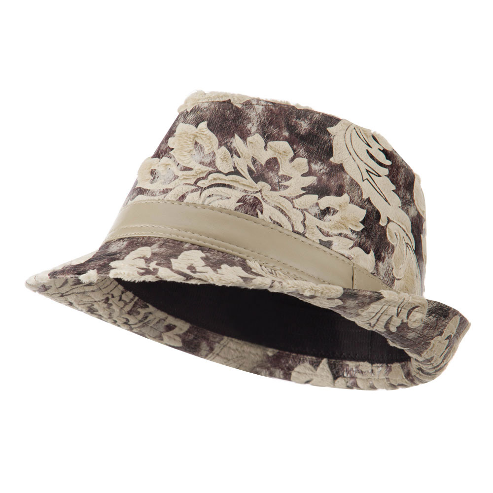 Brocade Pattern Burn Out Fedora - Beige - Hats and Caps Online Shop - Hip Head Gear