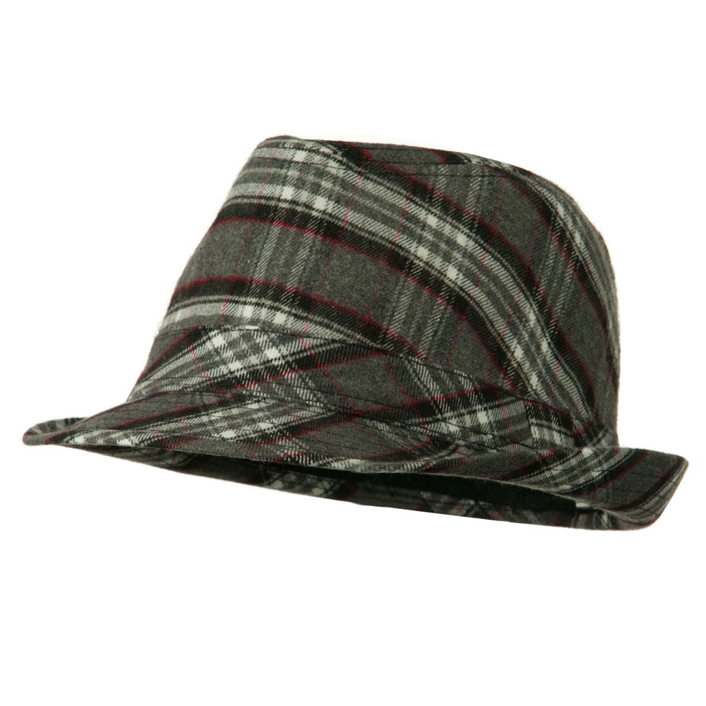 Boys Wool Blend Plaid Fedora with Band - Grey Red - Hats and Caps Online Shop - Hip Head Gear