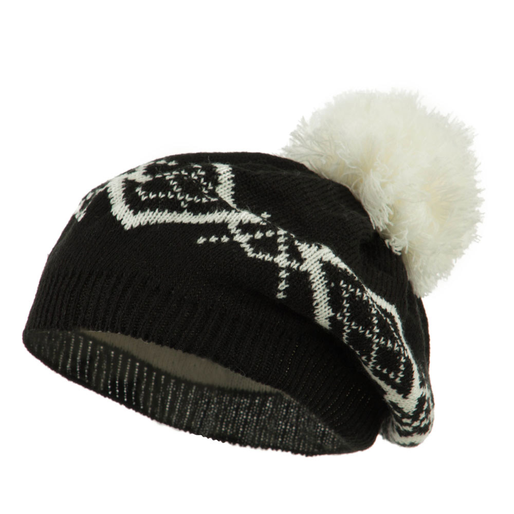 Beret Pattern with Pom Pom - Black White - Hats and Caps Online Shop - Hip Head Gear