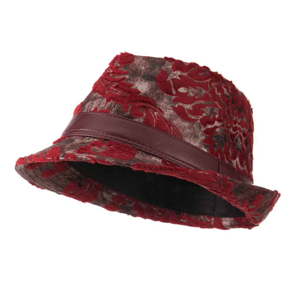 Brocade Pattern Burn Out Fedora - Wine - Hats and Caps Online Shop - Hip Head Gear
