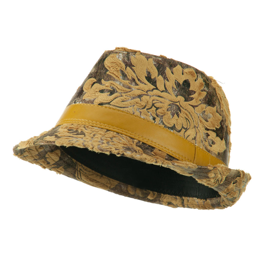 Brocade Pattern Burn Out Fedora - Gold - Hats and Caps Online Shop - Hip Head Gear