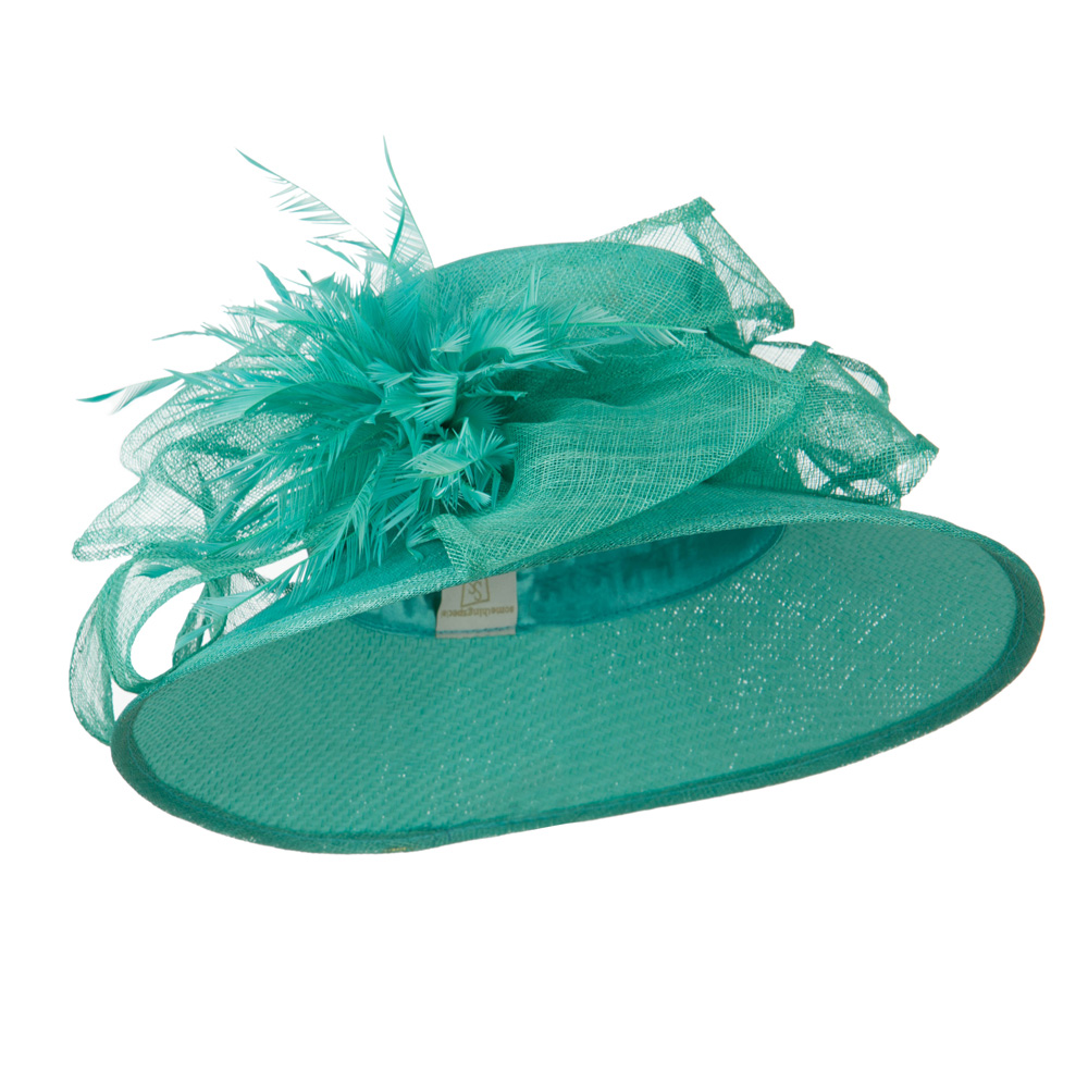 Bow Accent Paper Straw Sinamay Hat - Turquoise - Hats and Caps Online Shop - Hip Head Gear