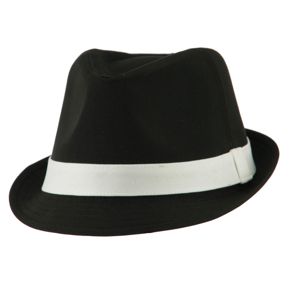 a2018425643 Basic Poly Woven Fedora Hats - Black White