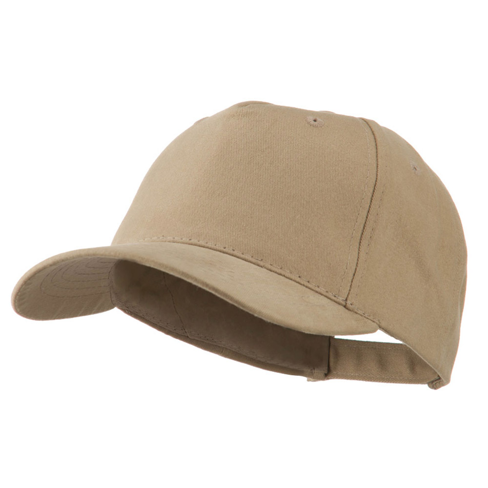 5 Panel Brushed Cotton Twill Constructed Cap - Khaki - Hats and Caps Online Shop - Hip Head Gear