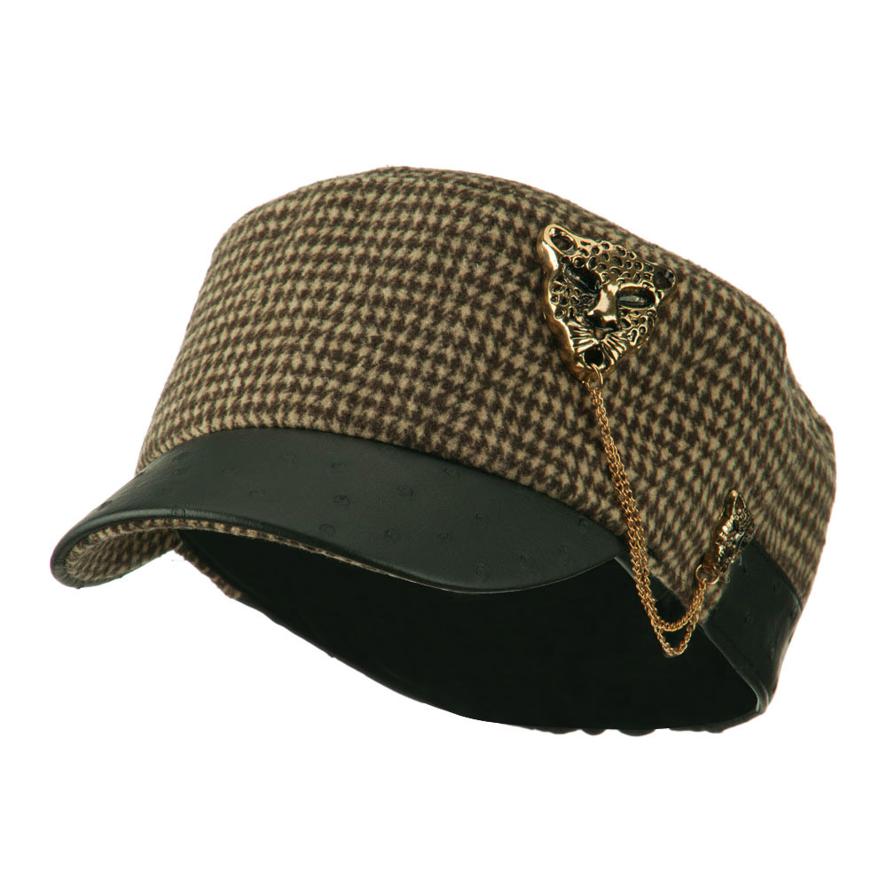 Military Cap with Animal Brooch - Brown - Hats and Caps Online Shop - Hip Head Gear