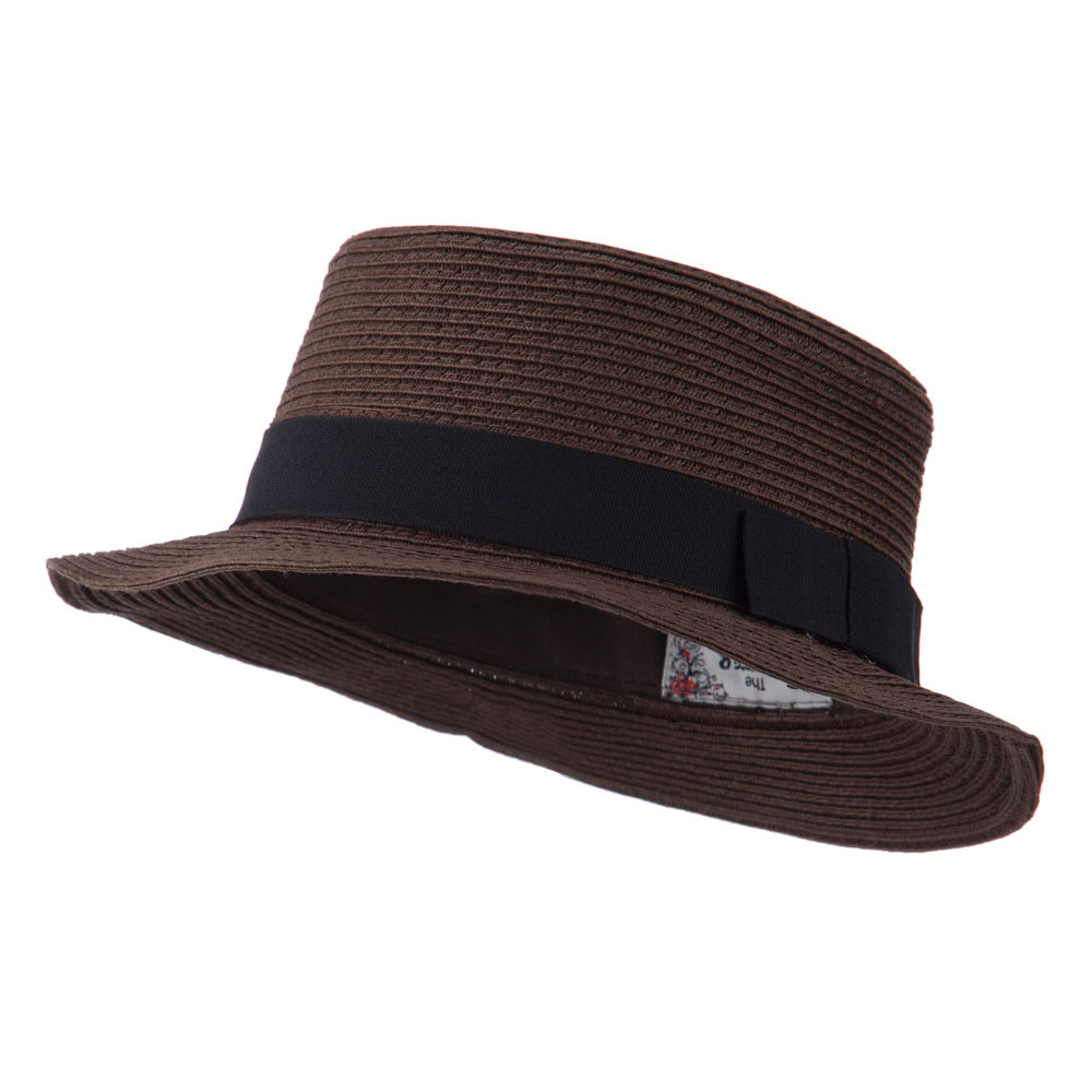 Black Ribbon Hat Band Pork Pie Fedora - Brown - Hats and Caps Online Shop - Hip Head Gear