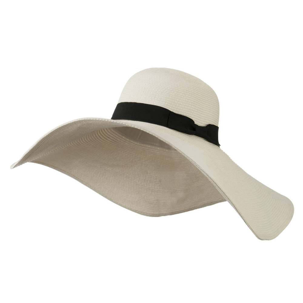 Black Ribbon Band 7 Inch Brim Hat - White - Hats and Caps Online Shop - Hip Head Gear