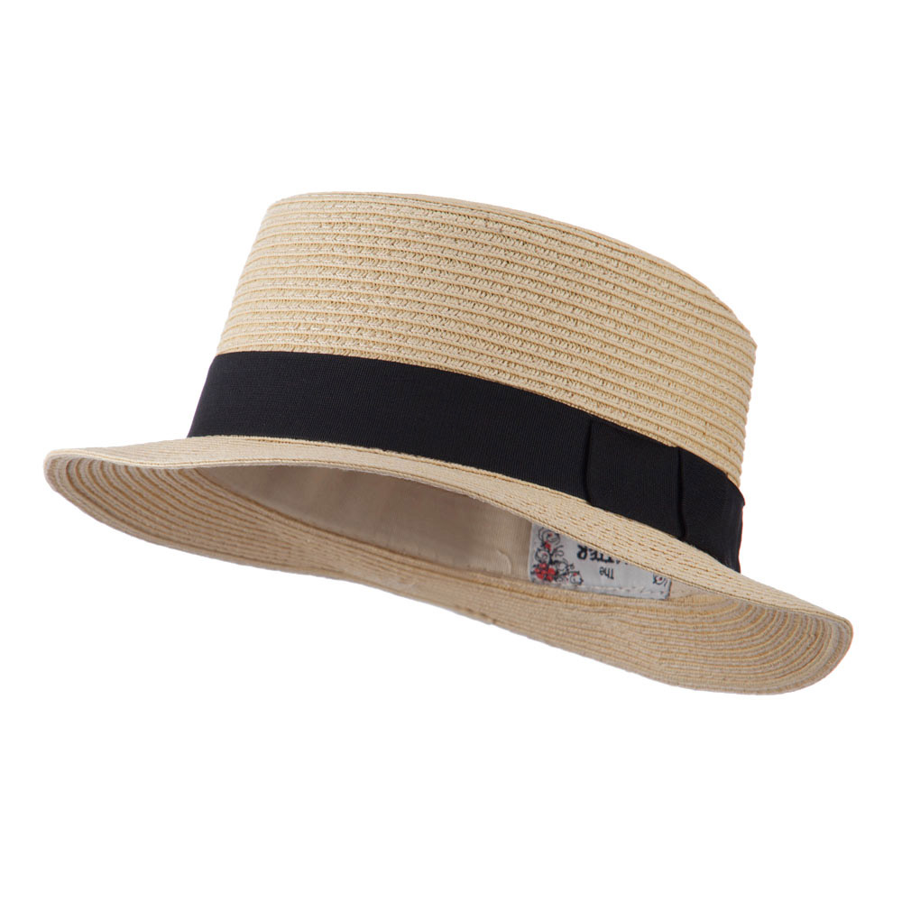 Black Ribbon Hat Band Pork Pie Fedora - Tan - Hats and Caps Online Shop - Hip Head Gear
