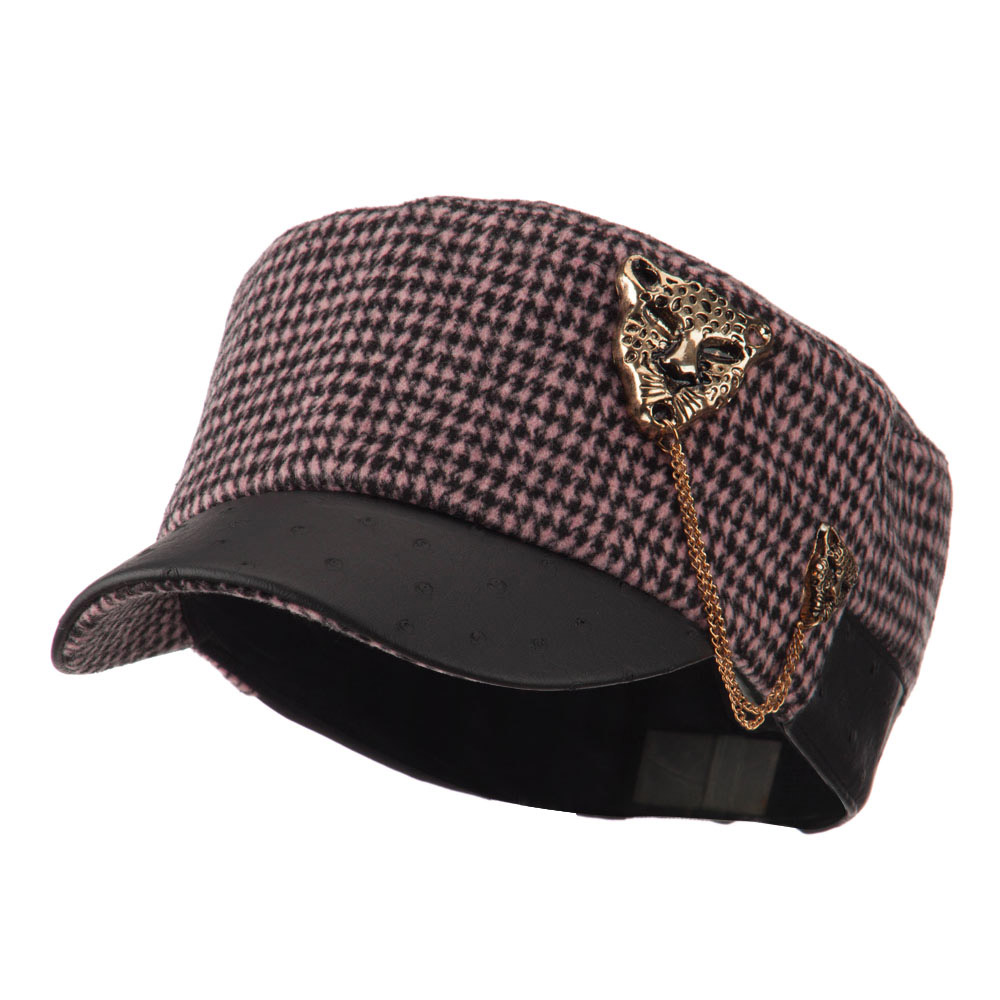 Military Cap with Animal Brooch - Pink - Hats and Caps Online Shop - Hip Head Gear