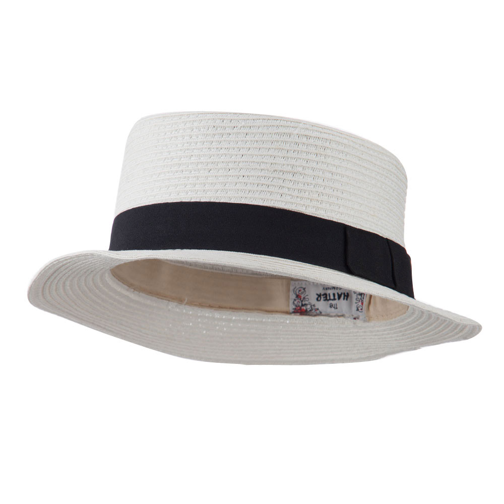 Black Ribbon Hat Band Pork Pie Fedora - White - Hats and Caps Online Shop - Hip Head Gear