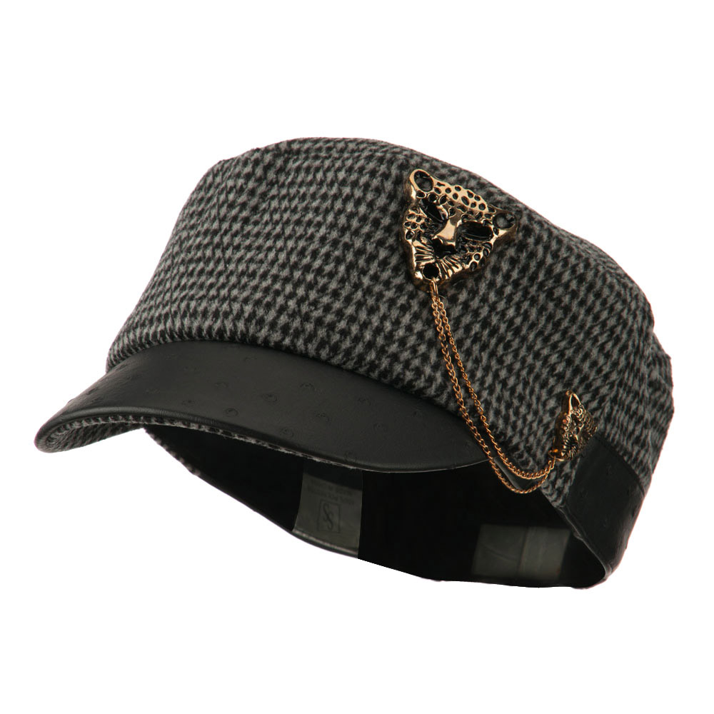 Military Cap with Animal Brooch - Grey - Hats and Caps Online Shop - Hip Head Gear