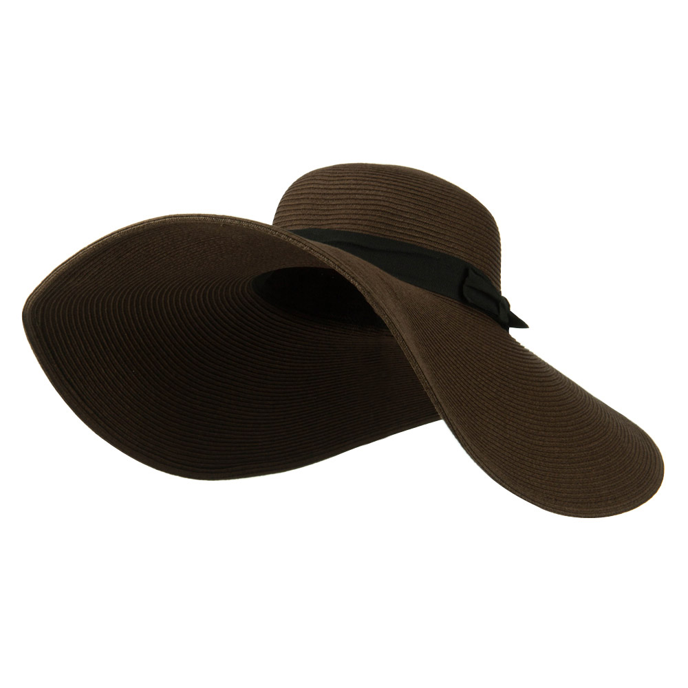 Black Ribbon Band 7 Inch Brim Hat - Brown - Hats and Caps Online Shop - Hip Head Gear