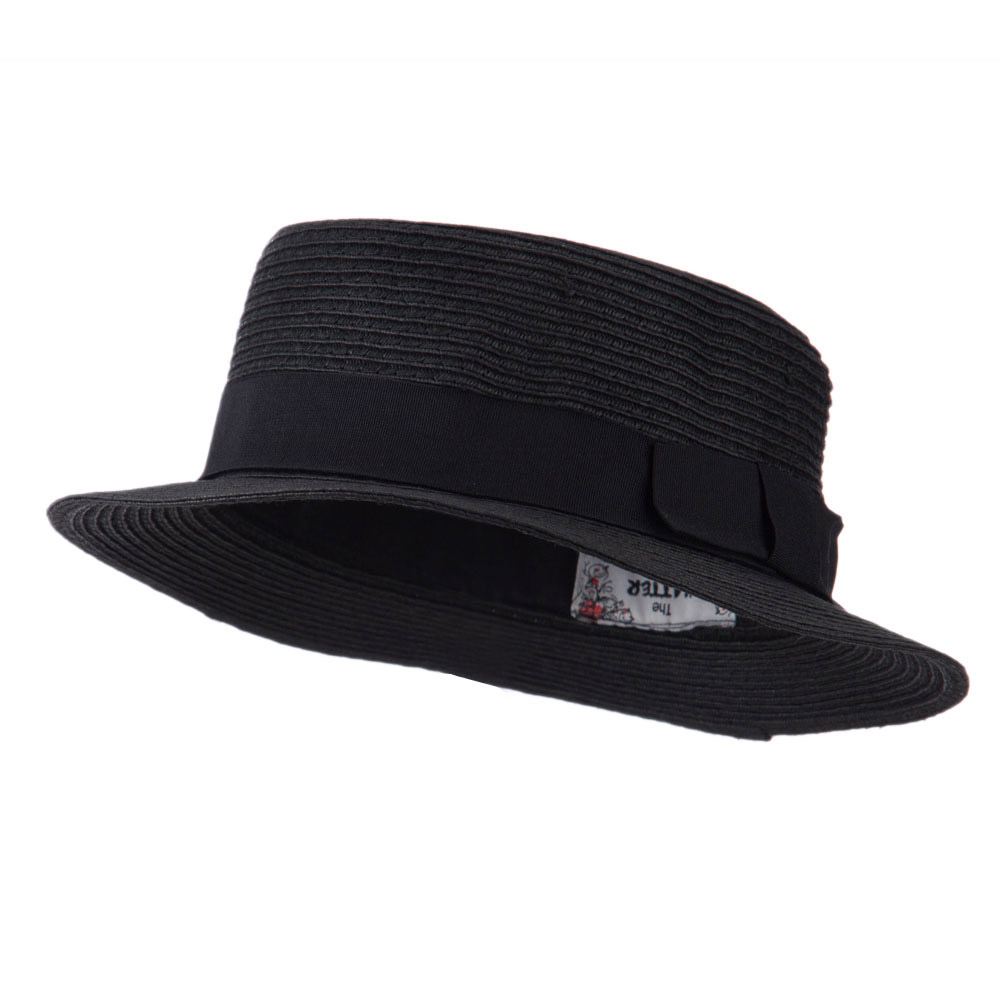 Black Ribbon Hat Band Pork Pie Fedora - Black - Hats and Caps Online Shop - Hip Head Gear