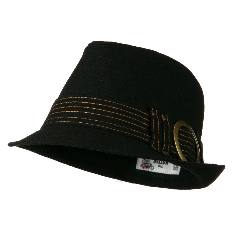 Fedora with Buckle and Stitched Band - Black - Hats and Caps Online Shop - Hip Head Gear