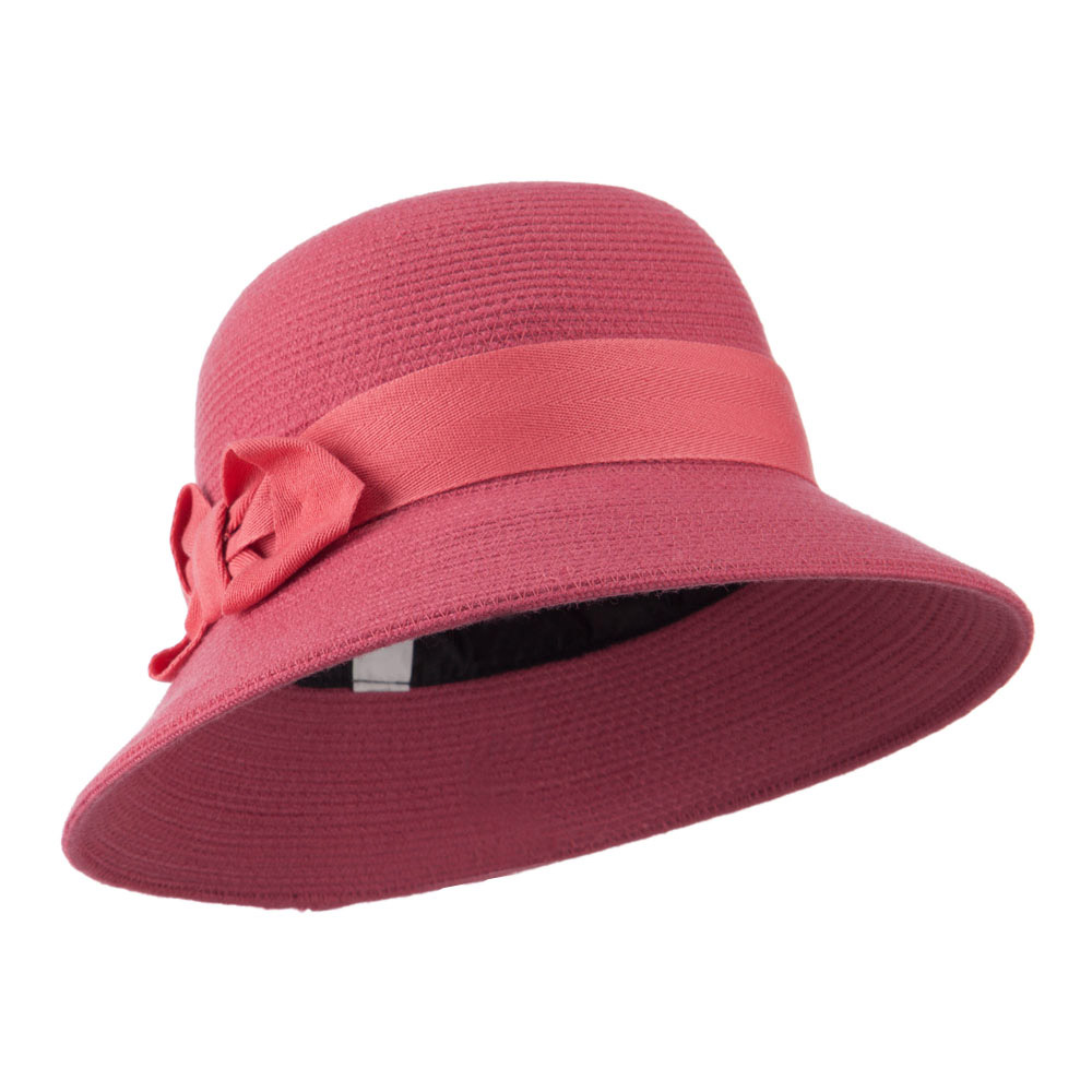 3 Inch Brim Bucket Shaped Wool Felt Cloche - Coral - Hats and Caps Online Shop - Hip Head Gear