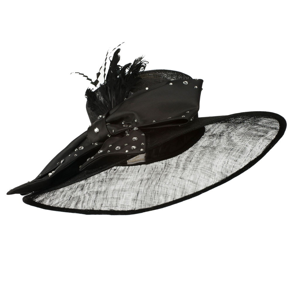 Large Bow Sequin Accent Sinamay Hat - Black - Hats and Caps Online Shop - Hip Head Gear