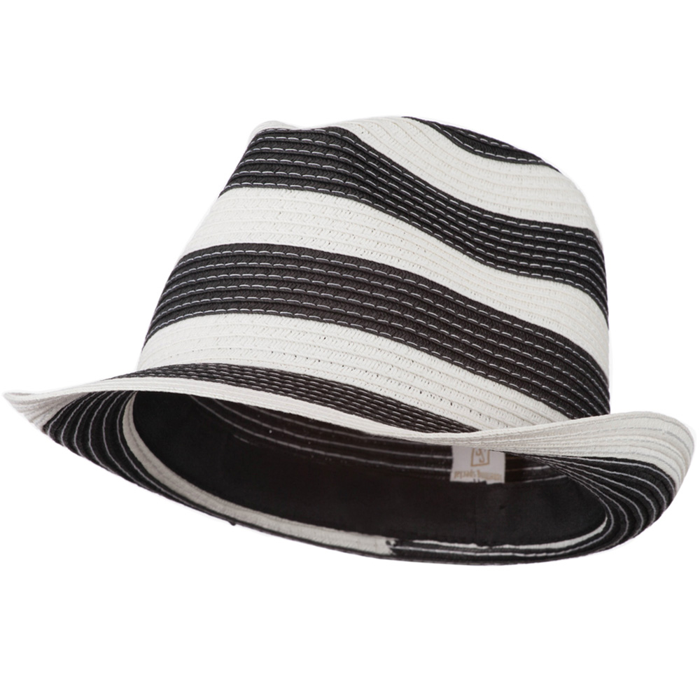 Paper Braid Striped Fedora Hat - Black White - Hats and Caps Online Shop - Hip Head Gear