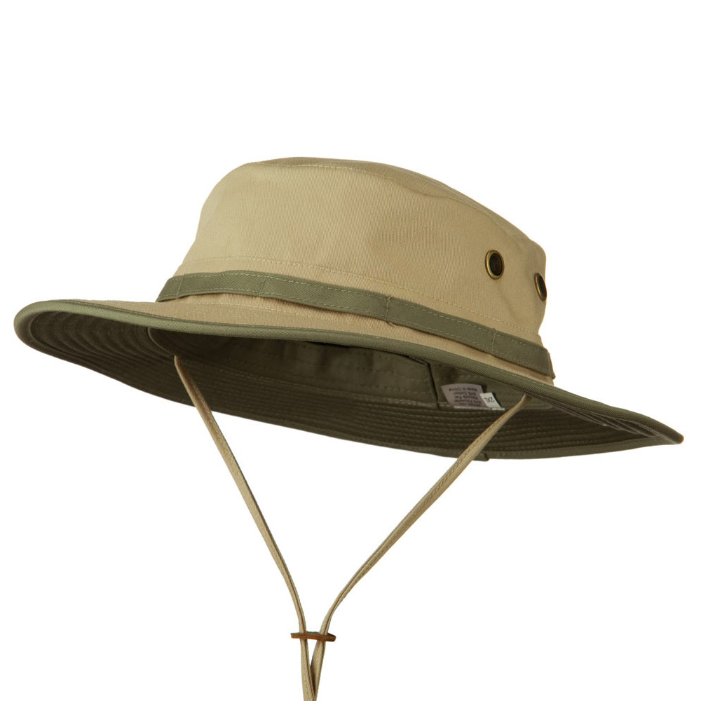 Big Size Pet Spun Bucket Hat with Chin Cord - Khaki Olive - Hats and Caps Online Shop - Hip Head Gear