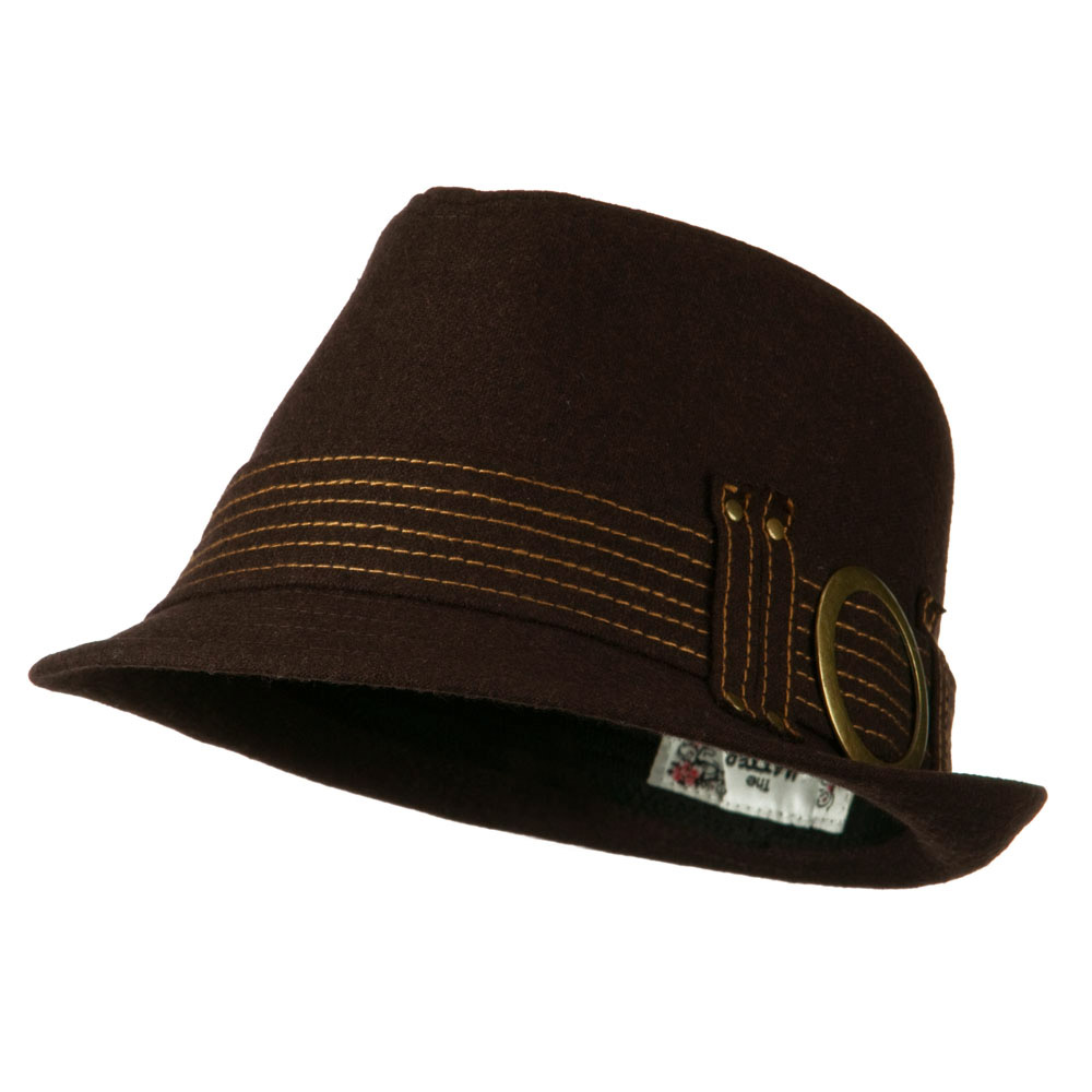 Fedora with Buckle and Stitched Band - Brown - Hats and Caps Online Shop - Hip Head Gear