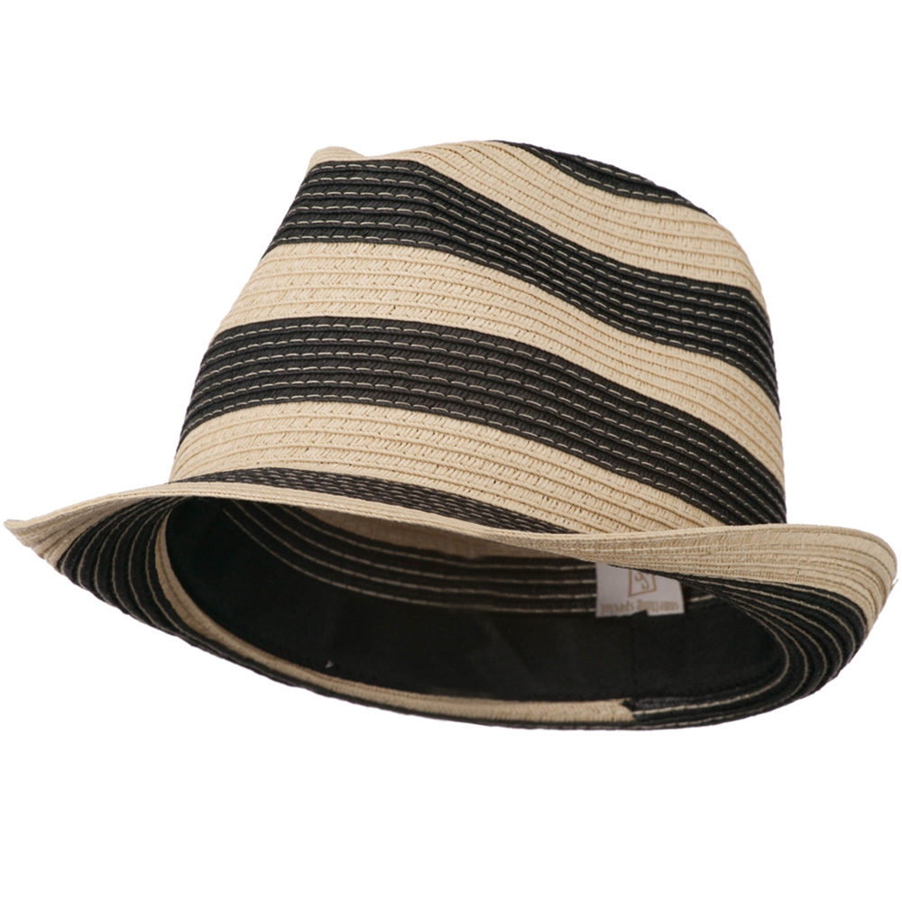 Paper Braid Striped Fedora Hat - Natural Black - Hats and Caps Online Shop - Hip Head Gear