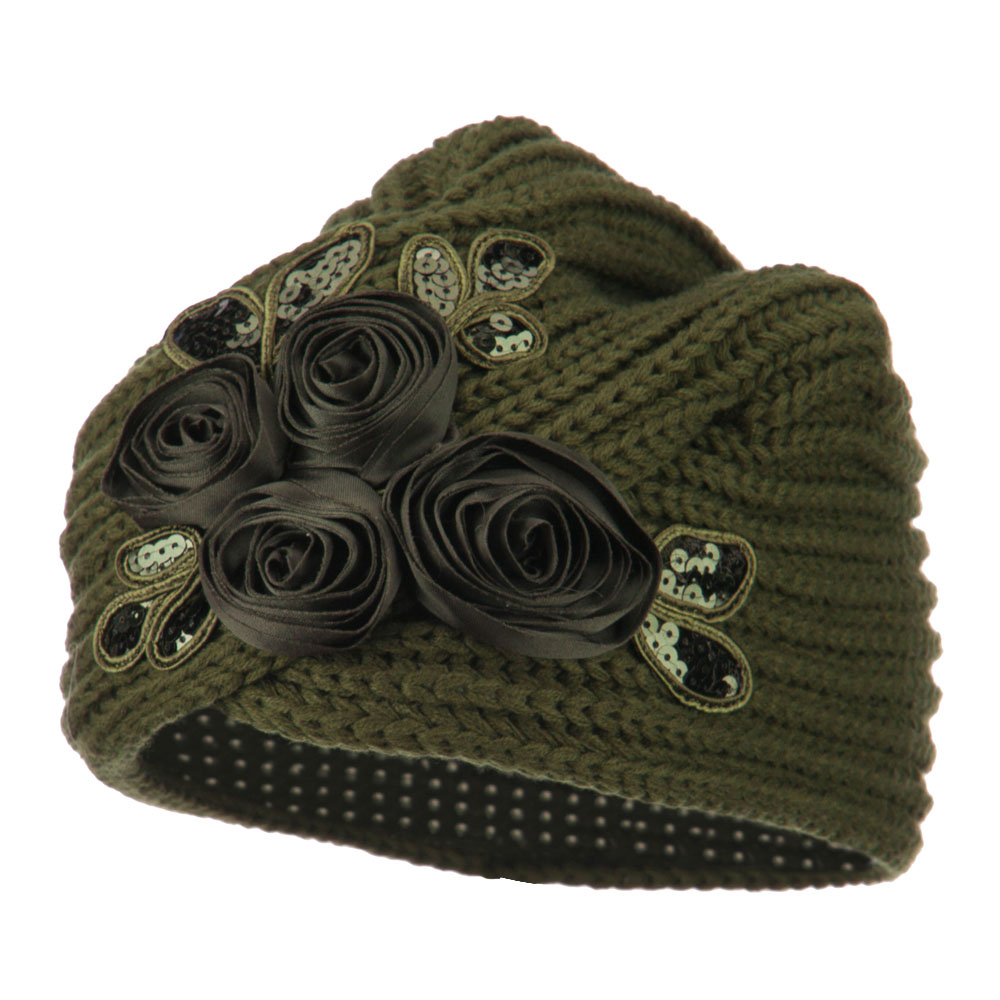 Flower Sequins Knit Turban - Olive