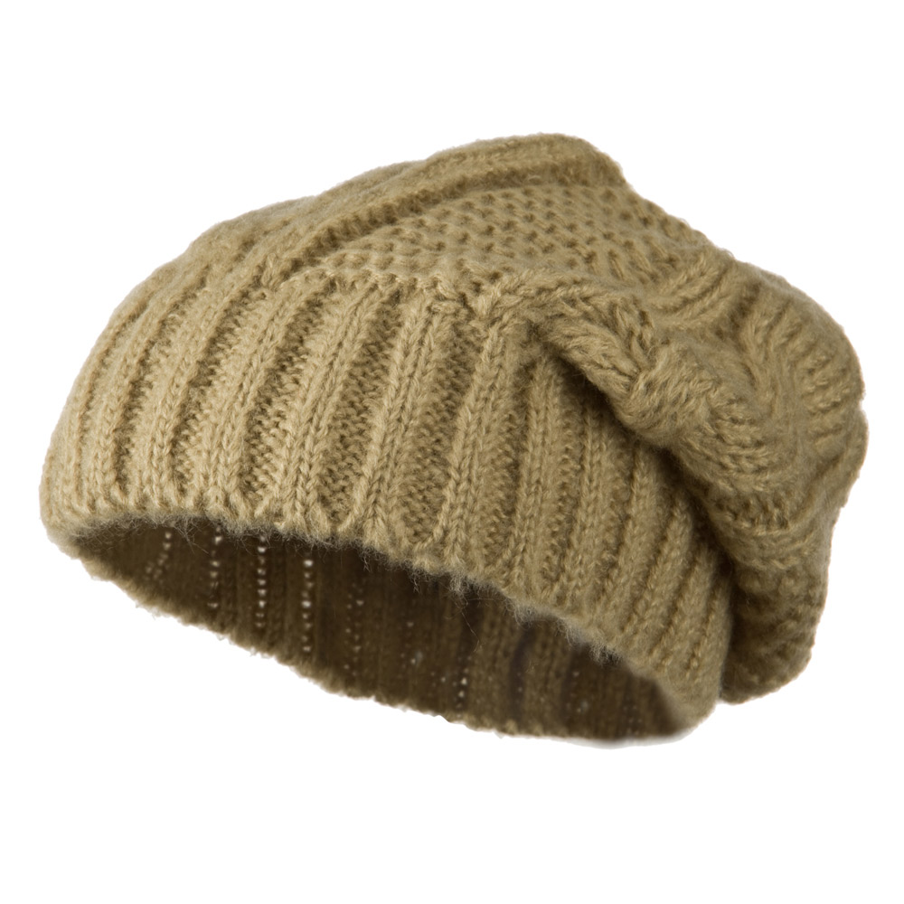 Big Skullie Cable Beanie - Tan - Hats and Caps Online Shop - Hip Head Gear