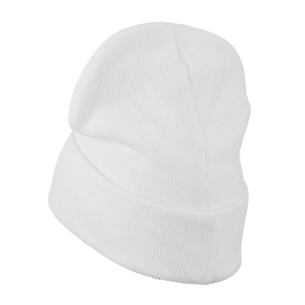 Big Size Superior Cotton Long Knitting Beanie-White - Hats and Caps Online Shop - Hip Head Gear