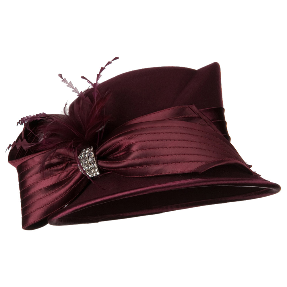 Bow Stone Wool Felt Hat - Burgundy - Hats and Caps Online Shop - Hip Head Gear