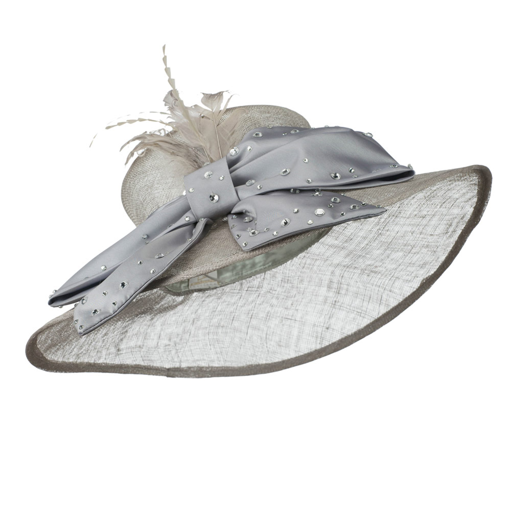 Large Bow Sequin Accent Sinamay Hat - Grey - Hats and Caps Online Shop - Hip Head Gear