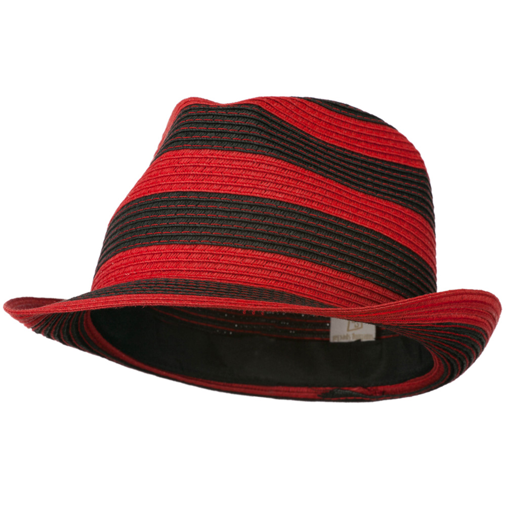 Paper Braid Striped Fedora Hat - Red Black - Hats and Caps Online Shop - Hip Head Gear