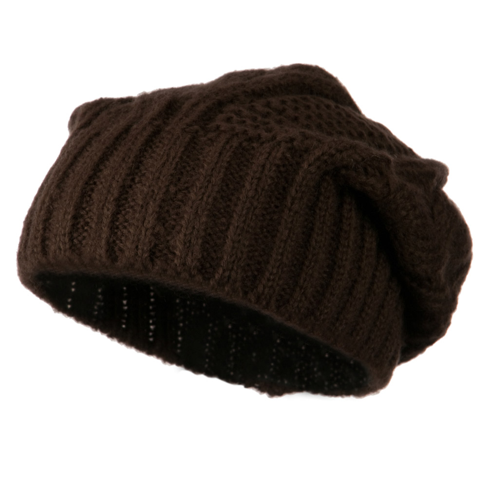 Big Skullie Cable Beanie - Brown - Hats and Caps Online Shop - Hip Head Gear
