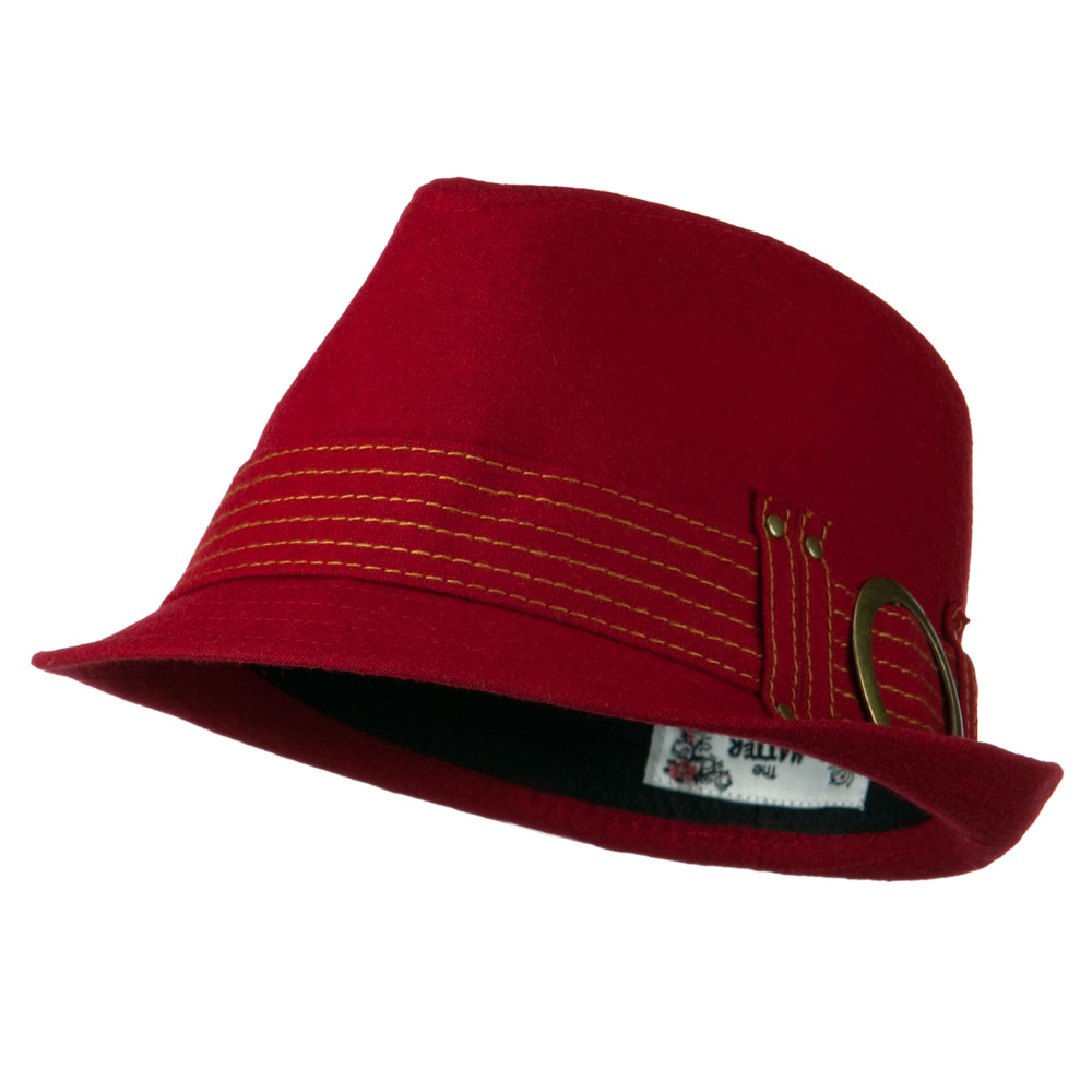 Fedora with Buckle and Stitched Band - Red - Hats and Caps Online Shop - Hip Head Gear