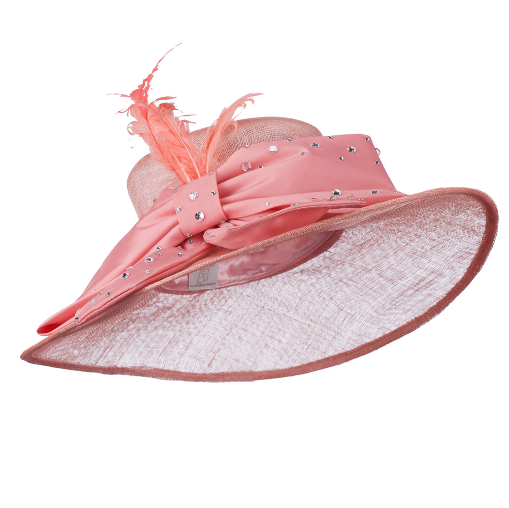 Large Bow Sequin Accent Sinamay Hat - Coral