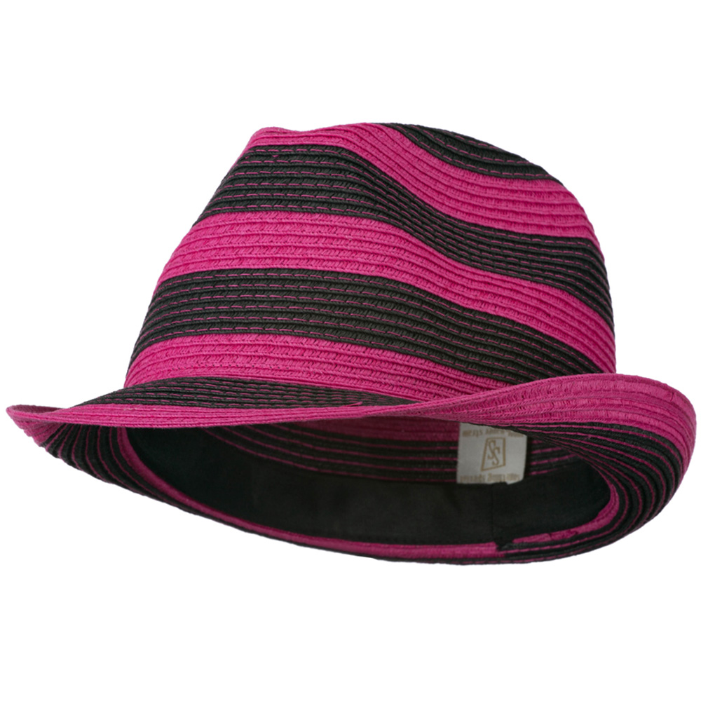 Paper Braid Striped Fedora Hat - Fuchsia Black - Hats and Caps Online Shop - Hip Head Gear