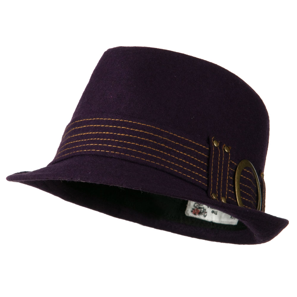 Fedora with Buckle and Stitched Band - Purple - Hats and Caps Online Shop - Hip Head Gear