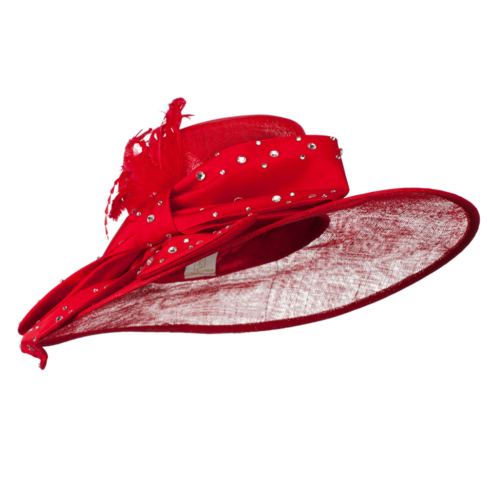 Large Bow Sequin Accent Sinamay Hat - Red - Hats and Caps Online Shop - Hip Head Gear