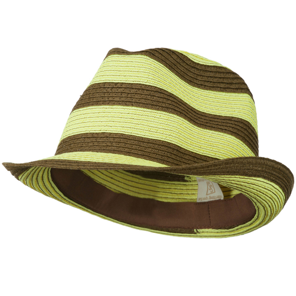 Paper Braid Striped Fedora Hat - Yellow Brown - Hats and Caps Online Shop - Hip Head Gear