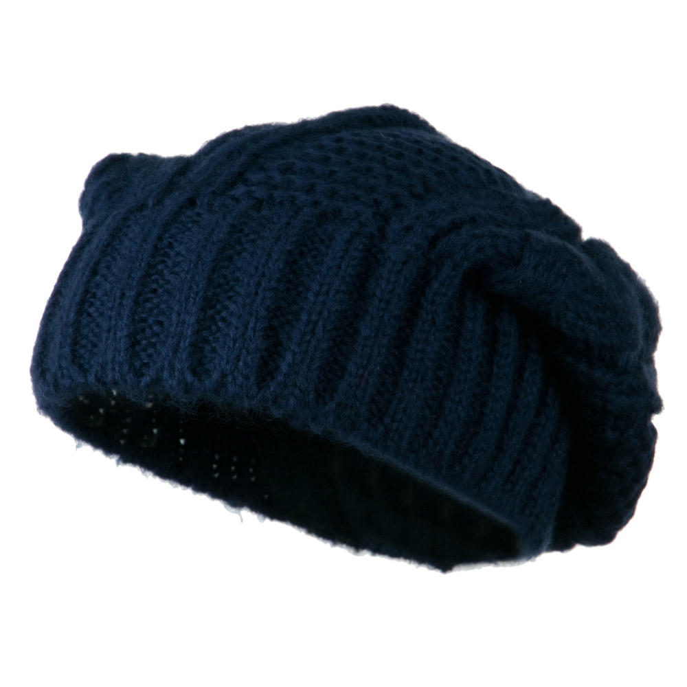 Big Skullie Cable Beanie - Navy