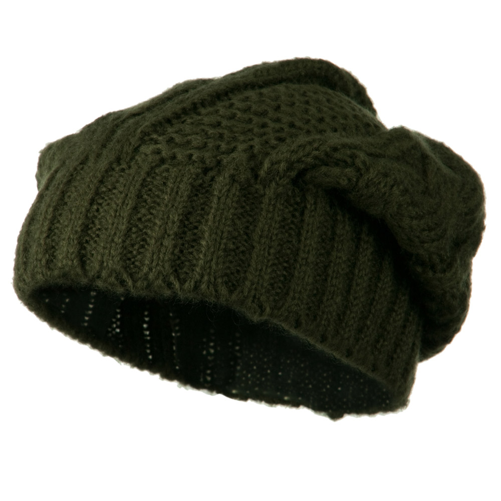 Big Skullie Cable Beanie - Olive