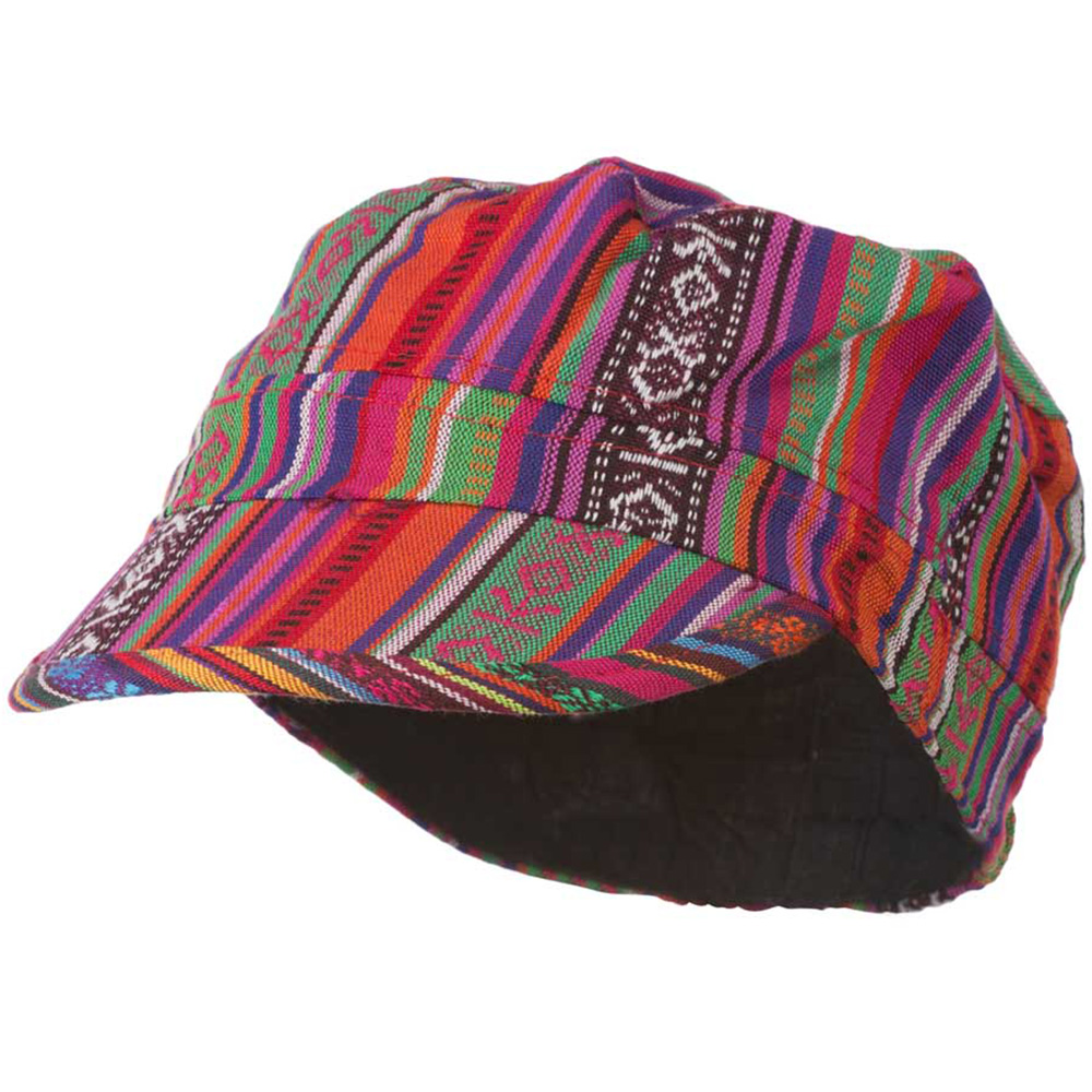 Women's Bright Tribal Print Military Cap - Bright Tribal Print - Hats and Caps Online Shop - Hip Head Gear