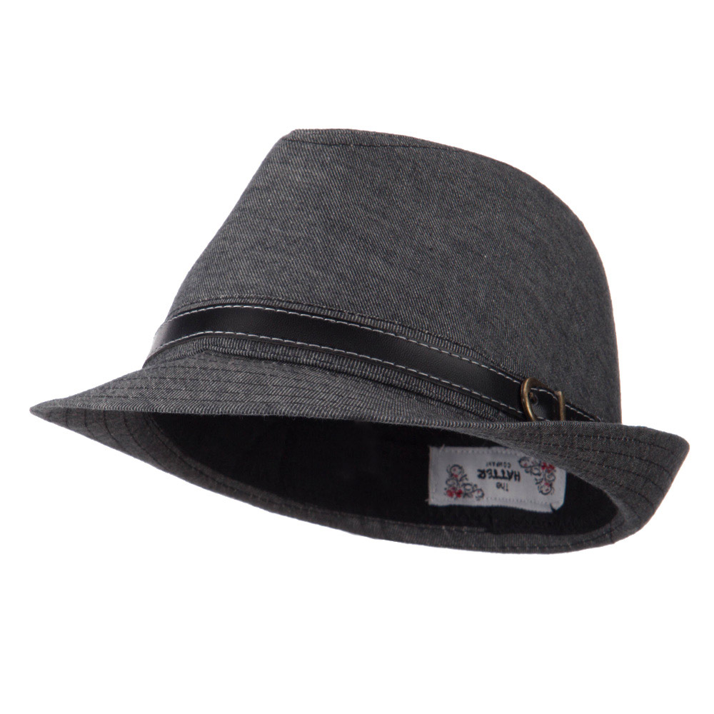 Cotton Fedora with Belt Band - Black - Hats and Caps Online Shop - Hip Head Gear