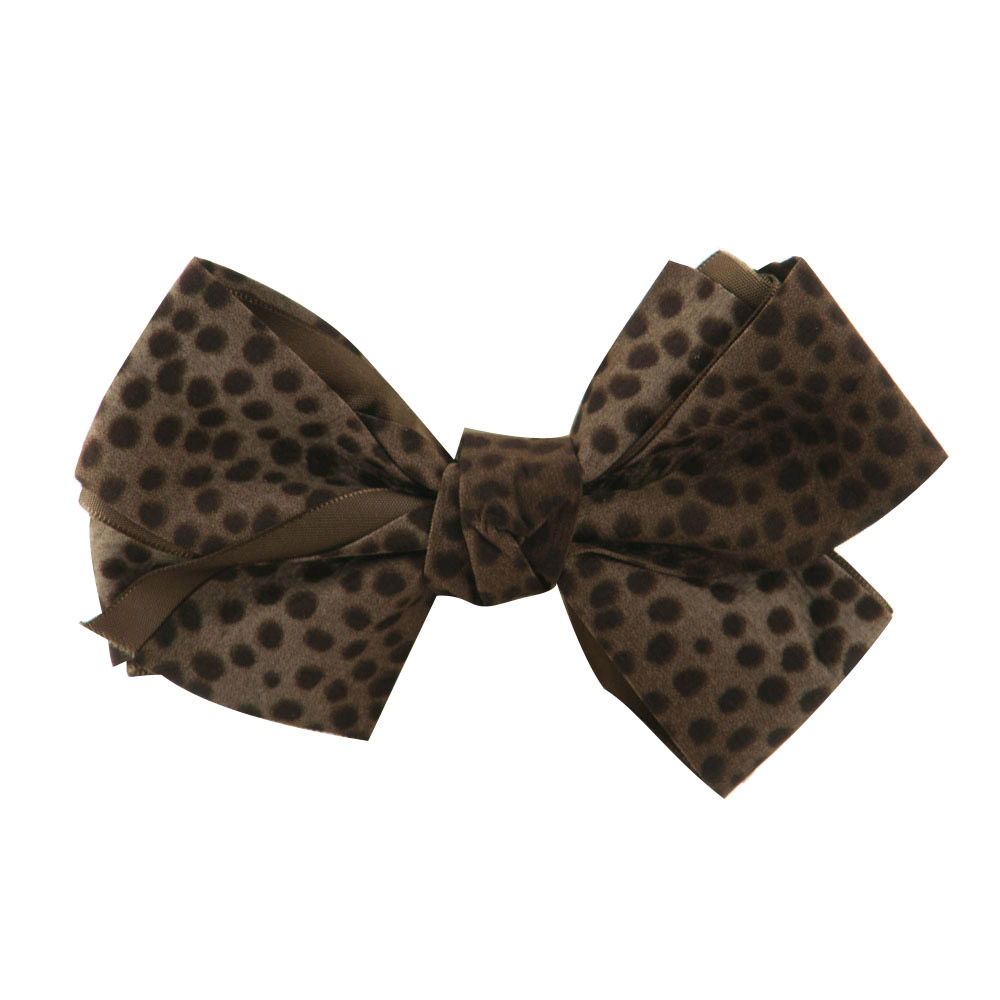 Women's Animal Print Bow Tie Pin Clip - Brown - Hats and Caps Online Shop - Hip Head Gear