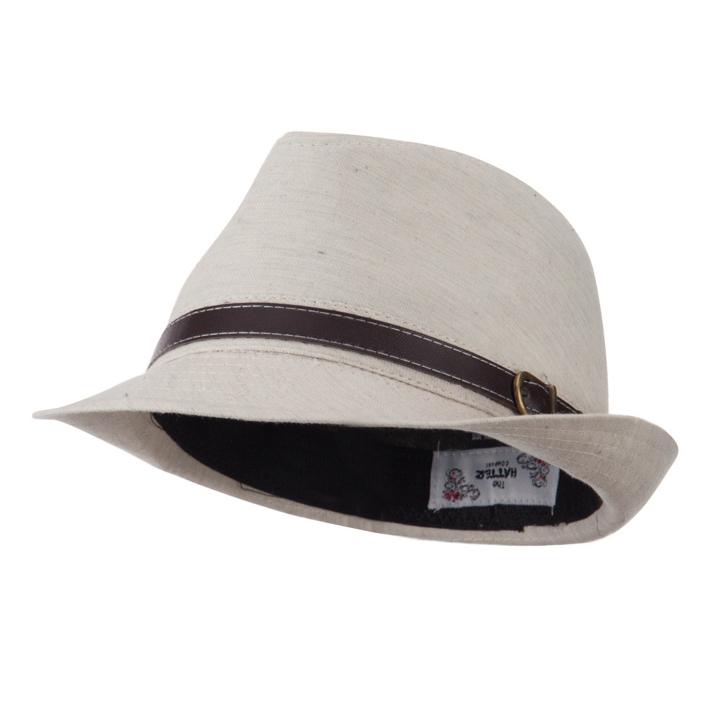 Cotton Fedora with Belt Band - White - Hats and Caps Online Shop - Hip Head Gear