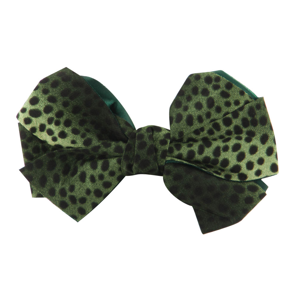 Women's Animal Print Bow Tie Pin Clip - Green - Hats and Caps Online Shop - Hip Head Gear