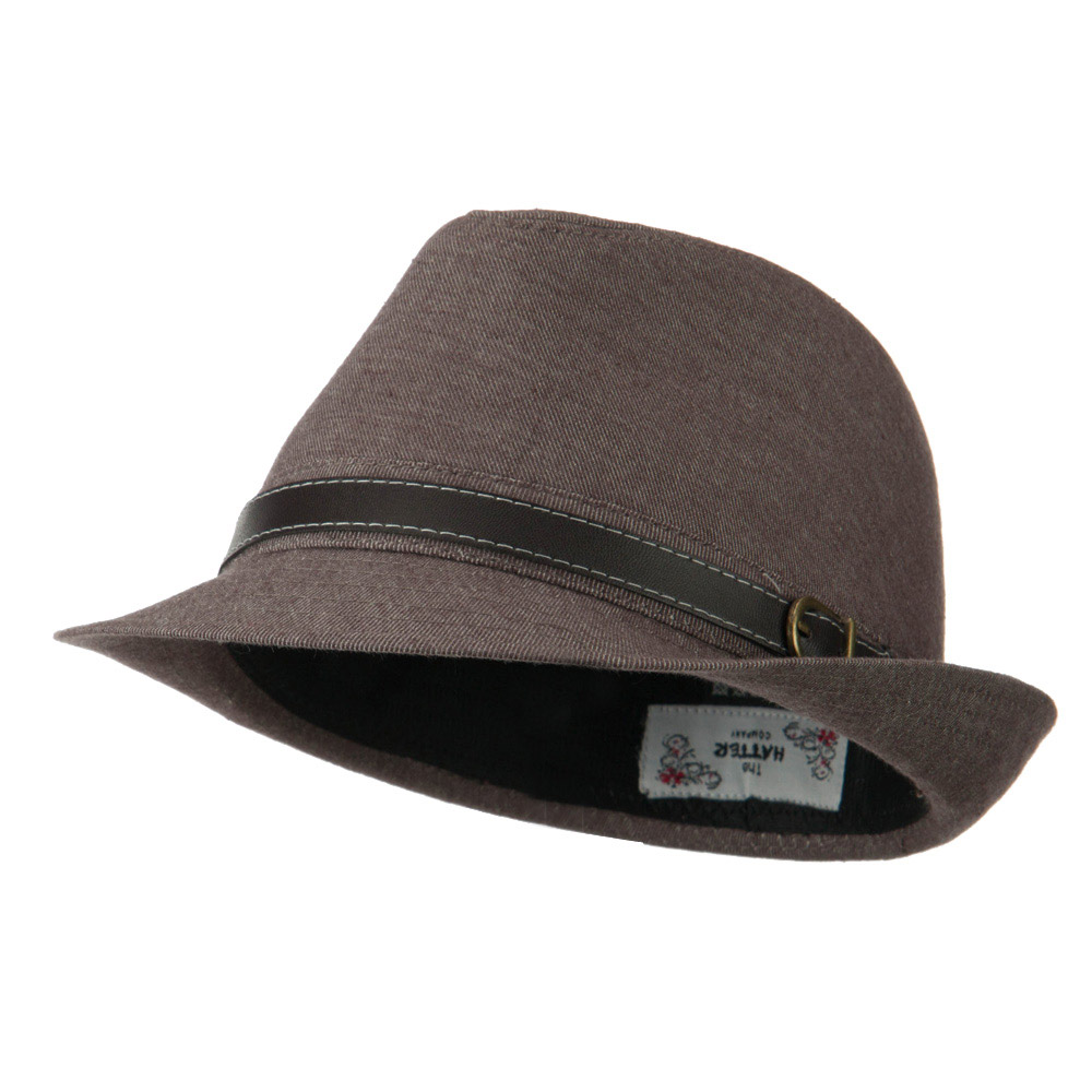 Cotton Fedora with Belt Band - Brown - Hats and Caps Online Shop - Hip Head Gear