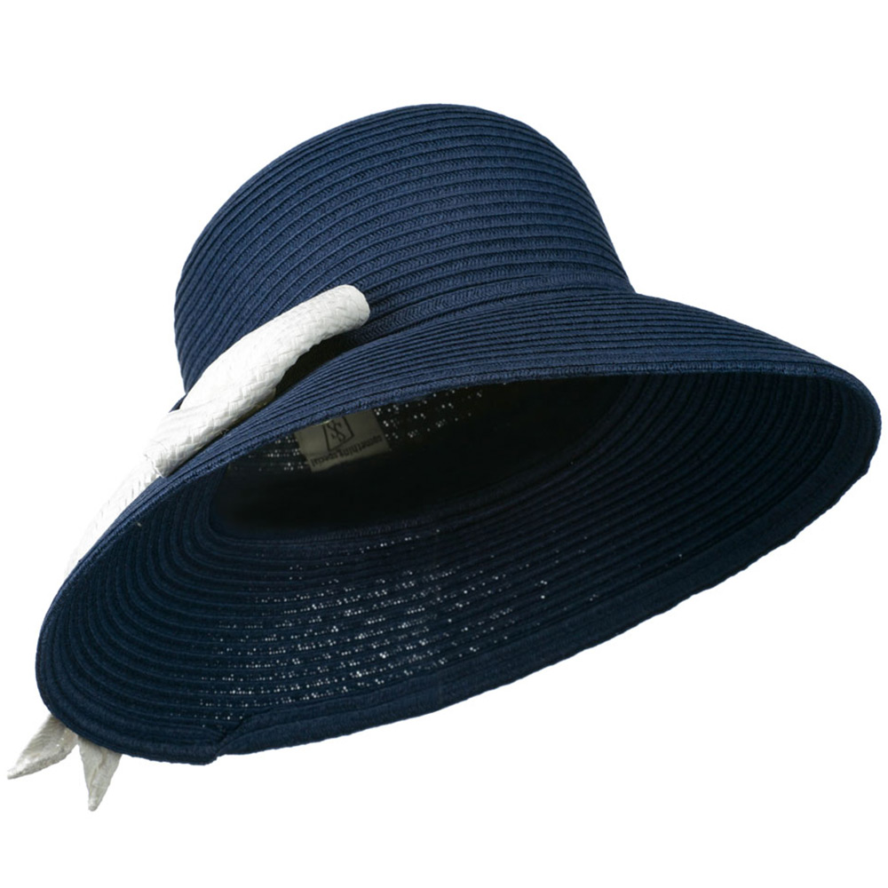Flat Wide Brim Hat with Big Bow Trim - Navy - Hats and Caps Online Shop - Hip Head Gear