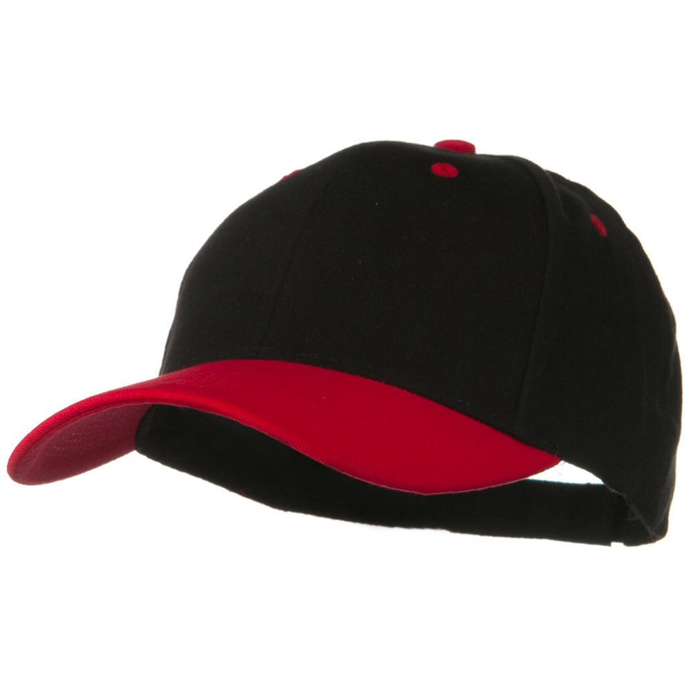 2 Tone Brushed Bull Denim Mid Profile Cap - Red Black - Hats and Caps Online Shop - Hip Head Gear