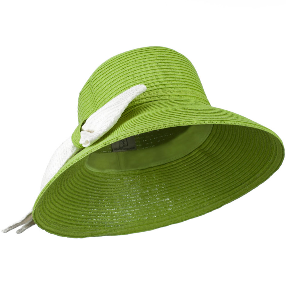Flat Wide Brim Hat with Big Bow Trim - Lime - Hats and Caps Online Shop - Hip Head Gear